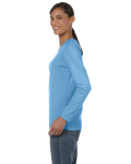 Carolina Blue Classic Cotton Ladies' Missy Fit Long-Sleeve T as seen from the sleeveright