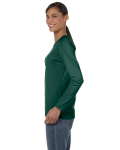 Forest Green Classic Cotton Ladies' Missy Fit Long-Sleeve T as seen from the sleeveright