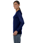 Navy Classic Cotton Ladies' Missy Fit Long-Sleeve T as seen from the sleeveright