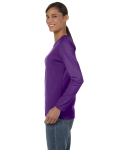 Purple Classic Cotton Ladies' Missy Fit Long-Sleeve T as seen from the sleeveright