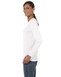 White Classic Cotton Ladies' Missy Fit Long-Sleeve T as seen from the sleeveright