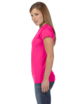 Antque Heliconia Ladies' 4.5 oz. SoftStyle Junior Fit T-Shirt as seen from the sleeveright