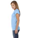 Light Blue Ladies' 4.5 oz. SoftStyle Junior Fit T-Shirt as seen from the sleeveright