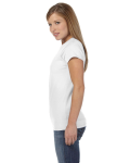 White Ladies' 4.5 oz. SoftStyle Junior Fit T-Shirt as seen from the sleeveright