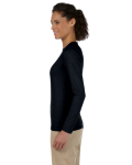 Black Ladies' 4.5 oz. SoftStyle Junior Fit Long-Sleeve T-Shirt as seen from the sleeveright