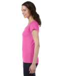 Azalea SoftStyle® Ladies' 4.5 oz. Junior Fit V-Neck T-Shirt as seen from the sleeveright