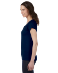 Navy SoftStyle® Ladies' 4.5 oz. Junior Fit V-Neck T-Shirt as seen from the sleeveright