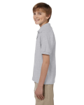 Ash Grey DryBlend Youth 5.6 oz., 50/50 Jersey Polo as seen from the sleeveright