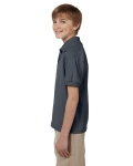 Dark Heather DryBlend Youth 5.6 oz., 50/50 Jersey Polo as seen from the sleeveright