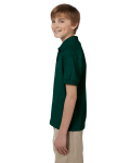 Forest Green DryBlend Youth 5.6 oz., 50/50 Jersey Polo as seen from the sleeveright