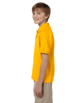 Gold DryBlend Youth 5.6 oz., 50/50 Jersey Polo as seen from the sleeveright
