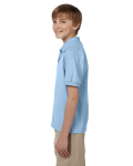 Light Blue DryBlend Youth 5.6 oz., 50/50 Jersey Polo as seen from the sleeveright