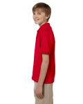 Red DryBlend Youth 5.6 oz., 50/50 Jersey Polo as seen from the sleeveright