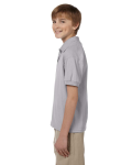 Sport Grey DryBlend Youth 5.6 oz., 50/50 Jersey Polo as seen from the sleeveright