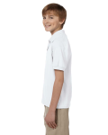 White DryBlend Youth 5.6 oz., 50/50 Jersey Polo as seen from the sleeveright