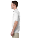 White DryBlend™ 6 oz., 50/50 Jersey Polo with Pocket as seen from the sleeveright