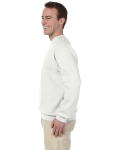 White 9.5 oz. Ultra Cotton 80/20 Fleece Crew as seen from the sleeveright