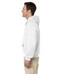 White Premium Cotton; 9 oz. Ringspun Hooded Sweatshirt as seen from the sleeveright