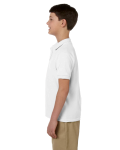 White DryBlend Youth 6.5 oz. Piqué Sport Shirt as seen from the sleeveright
