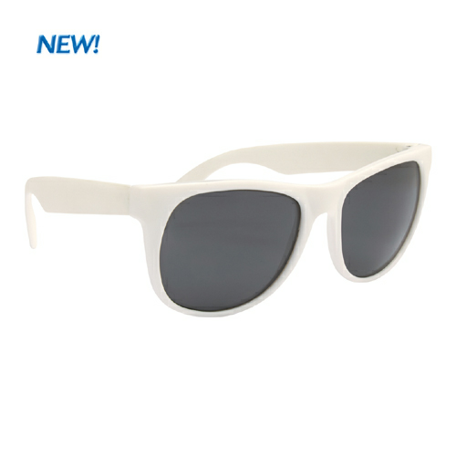 White Rubberized Sunglasses as seen from the front