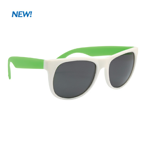 White With Green Rubberized Sunglasses as seen from the front