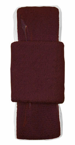 Burgundy Headband-Wristband Combo  as seen from the front