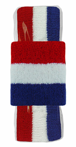 Red/white/blue Headband-Wristband Combo  as seen from the front