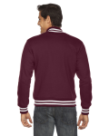 Maroon MADE IN USA Unisex Heavy Terry Club Jacket as seen from the back