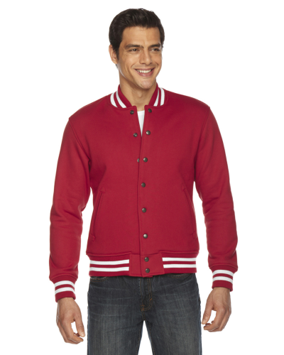 Red MADE IN USA Unisex Heavy Terry Club Jacket as seen from the front