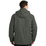 Spruce Green Port Authority Herringbone 3-in-1 Parka as seen from the back