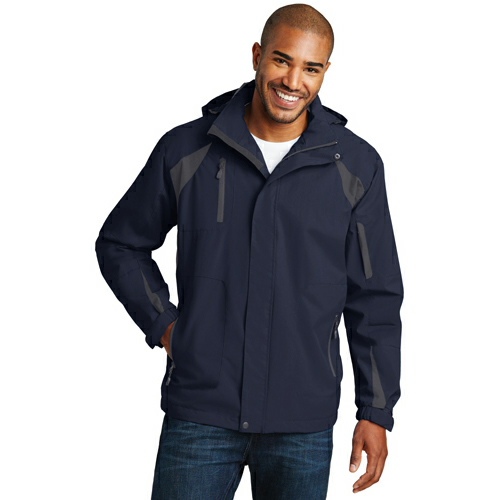 Tr Nvy Irn Gry Port Authority All-Season II Jacket as seen from the front