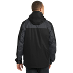 Black Ink Grey Port Authority Ranger 3-in-1 Jacket as seen from the back