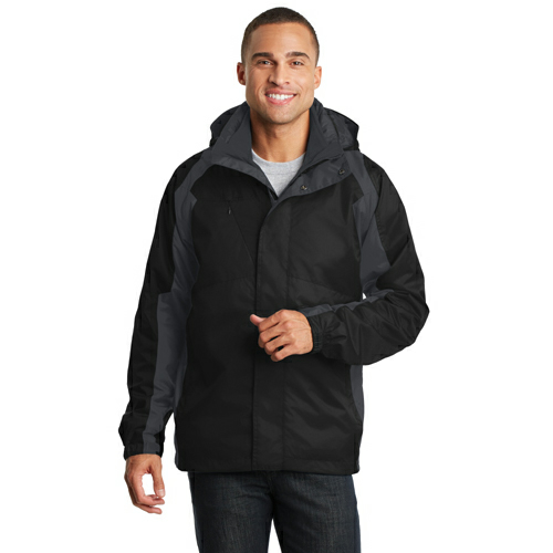Black Ink Grey Port Authority Ranger 3-in-1 Jacket as seen from the front