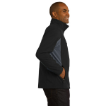 Black Bat Grey Port Authority Core Colorblock Soft Shell Jacket as seen from the sleeveright