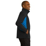 Black Imp Blue Port Authority Core Colorblock Soft Shell Jacket as seen from the sleeveright