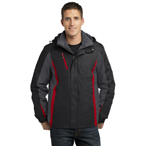 Blk Mag Gy Red Port Authority Colorblock 3-in-1 Jacket as seen from the front