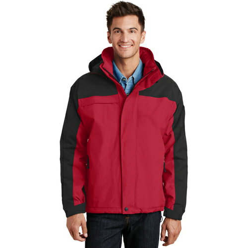 Engine Red Blk Port Authority Nootka Jacket as seen from the front