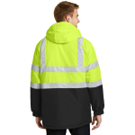 Sfty Ylw Black Port Authority ANSI 107 Class 3 Safety Heavyweight Parka as seen from the back