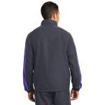 Grph Gry Purpl Sport-Tek Piped Colorblock Wind Jacket as seen from the back