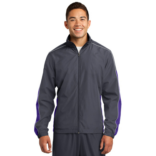Grph Gry Purpl Sport-Tek Piped Colorblock Wind Jacket as seen from the front
