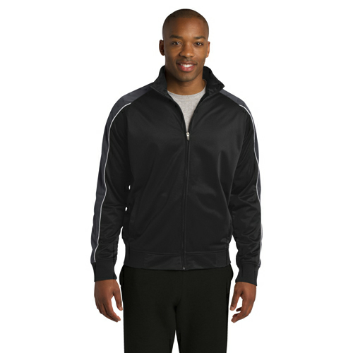 Blk Irn Gry Wh Sport-Tek Piped Tricot Track Jacket as seen from the front