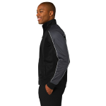 Blk Irn Gry Wh Sport-Tek Piped Tricot Track Jacket as seen from the sleeveright