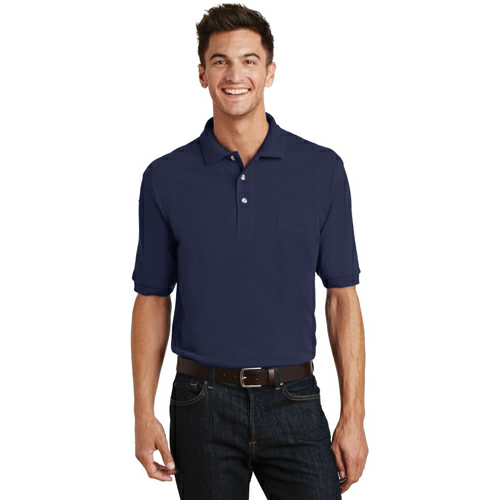 Port Authority Pique Knit Polo with Pocket - Embroidered