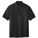 Black Port Authority Silk Touch Polo as seen from the front