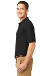 Black Port Authority Silk Touch Polo as seen from the sleeveleft
