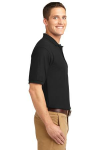 Black Port Authority Silk Touch Polo as seen from the sleeveright