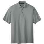 Cool Grey Port Authority Silk Touch Polo as seen from the front