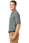 Cool Grey Port Authority Silk Touch Polo as seen from the sleeveleft