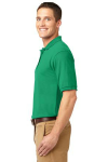 Court Green Port Authority Silk Touch Polo as seen from the sleeveleft