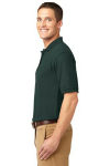 Dark Green Port Authority Silk Touch Polo as seen from the sleeveleft